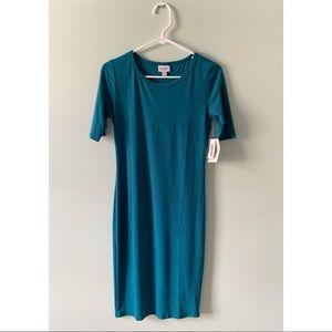 Lularoe Teal midi Julia Dress XS NWT